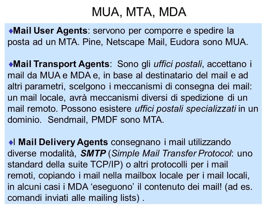 MUA, MTA, MDA Mail User Agents: servono per comporre e spedire la posta ad un MTA. Pine, Netscape Mail, Eudora sono MUA. Mail Transport Agents: Sono g