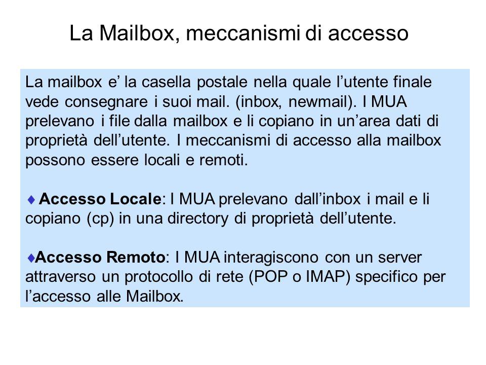 La Mailbox, meccanismi di accesso La mailbox e la casella postale nella quale lutente finale vede consegnare i suoi mail. (inbox, newmail). I MUA prel