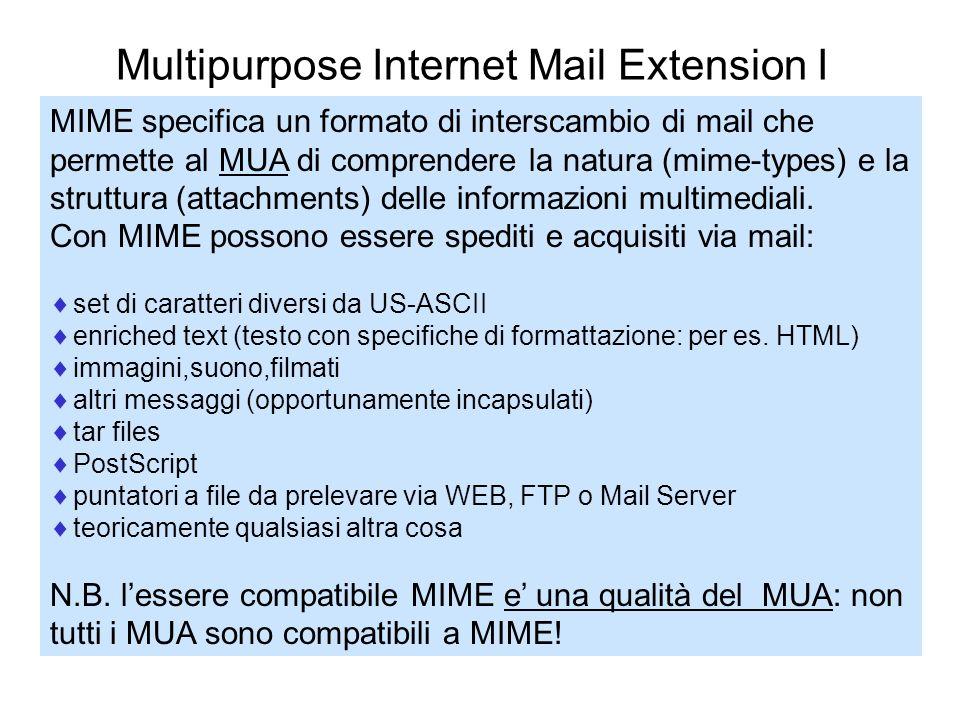 Multipurpose Internet Mail Extension II Immagine PostScript Audio RFC-822 Messaggio Mime MUA Applicazione Grafica Stampante o viewer Applicazione Audio MUA Formato (attachments multimediali) Azione in base al MIME type