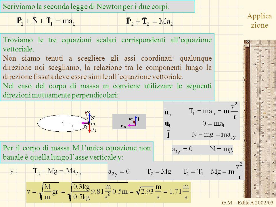 G.M. - Edile A 2002/03 Applica zione Scriviamo la seconda legge di Newton per i due corpi. Troviamo le tre equazioni scalari corrispondenti allequazio