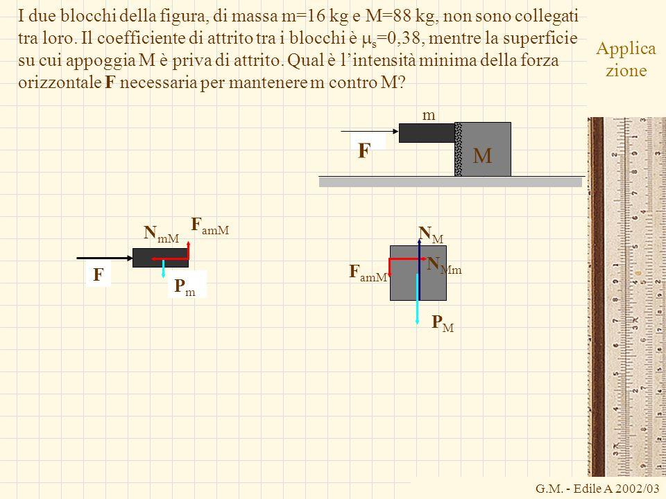 G.M. - Edile A 2002/03 Applica zione I due blocchi della figura, di massa m=16 kg e M=88 kg, non sono collegati tra loro. Il coefficiente di attrito t