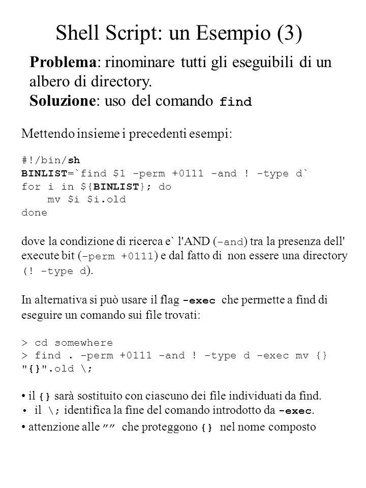 Problema: rinominare tutti gli eseguibili di un albero di directory. Soluzione: uso del comando find Mettendo insieme i precedenti esempi: #!/bin/sh B
