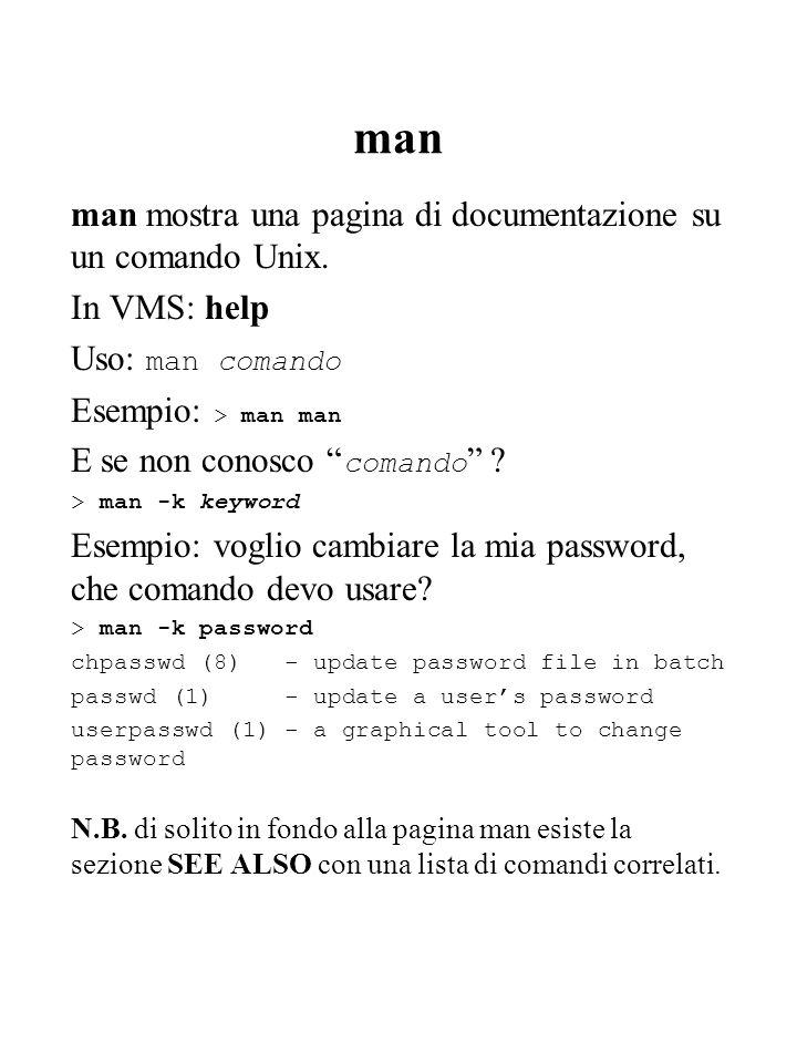 man man mostra una pagina di documentazione su un comando Unix. In VMS: help Uso: man comando Esempio: > man man E se non conosco comando ? > man -k k