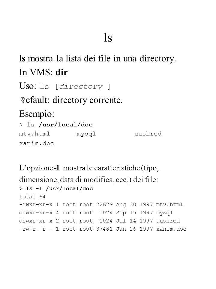 ls ls mostra la lista dei file in una directory. In VMS: dir Uso: ls [directory ] D efault: directory corrente. Esempio: > ls /usr/local/doc mtv.htmlm