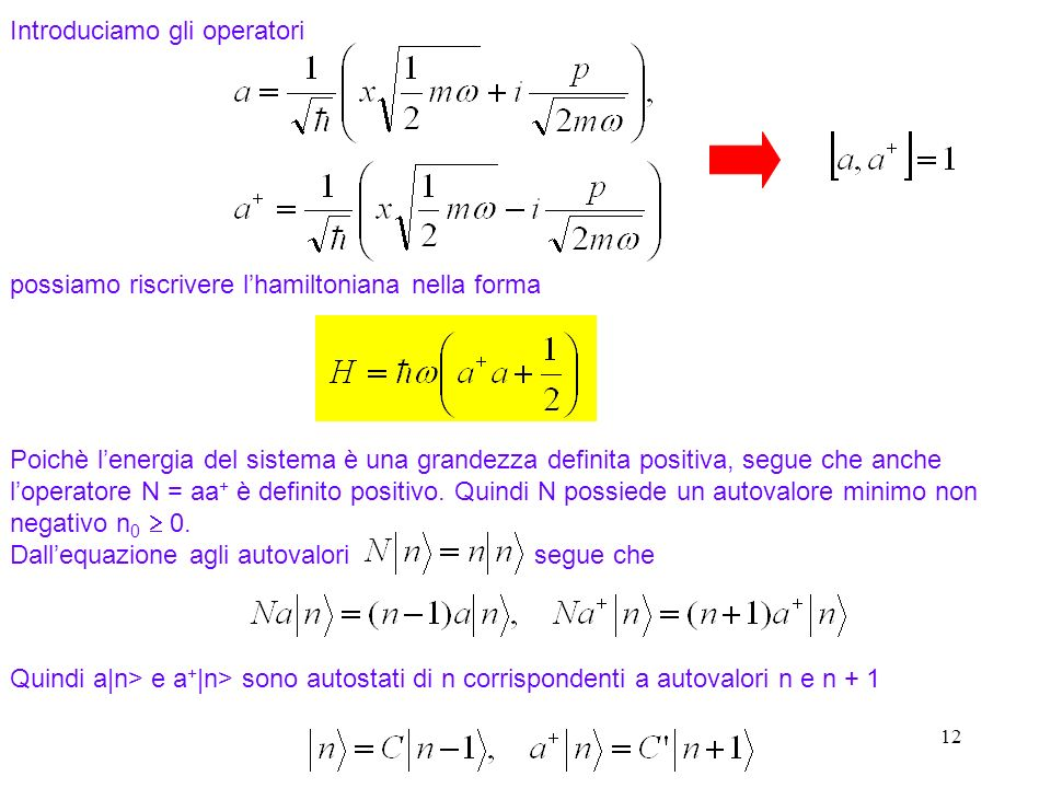 12 Introduciamo gli operatori Poichè lenergia del sistema è una grandezza definita positiva, segue che anche loperatore N = aa + è definito positivo.