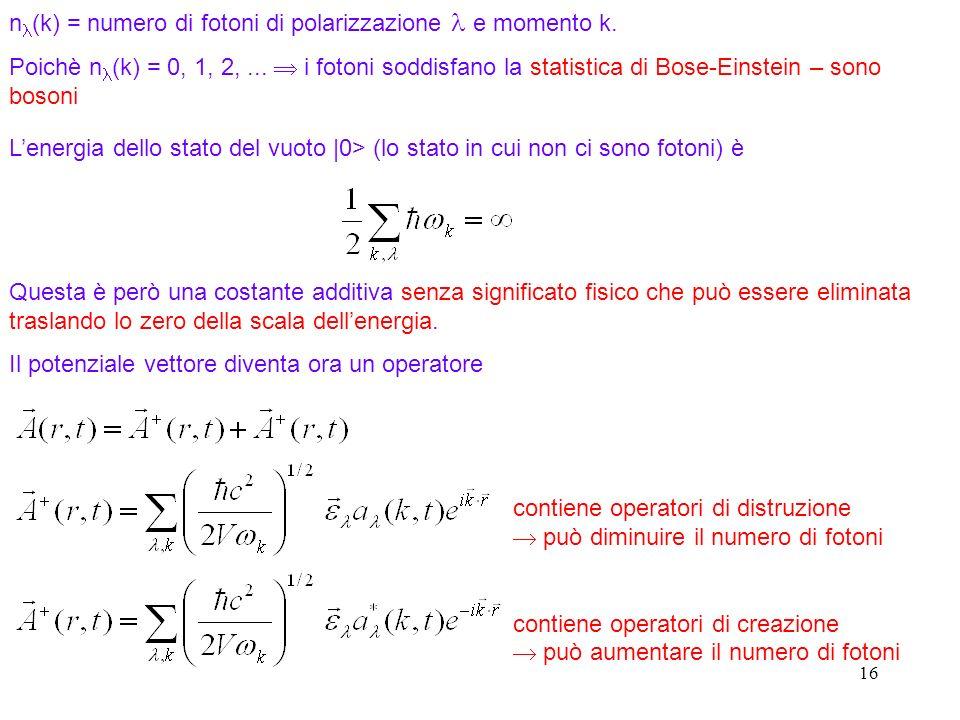 16 Lenergia dello stato del vuoto |0> (lo stato in cui non ci sono fotoni) è Questa è però una costante additiva senza significato fisico che può essere eliminata traslando lo zero della scala dellenergia.