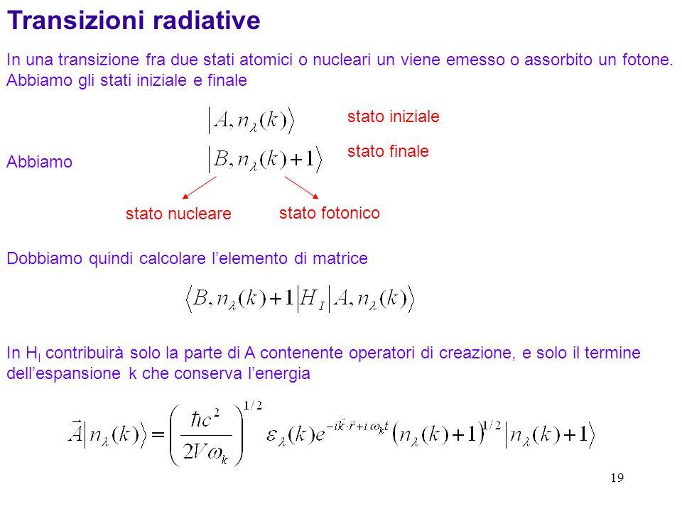 19 In una transizione fra due stati atomici o nucleari un viene emesso o assorbito un fotone.