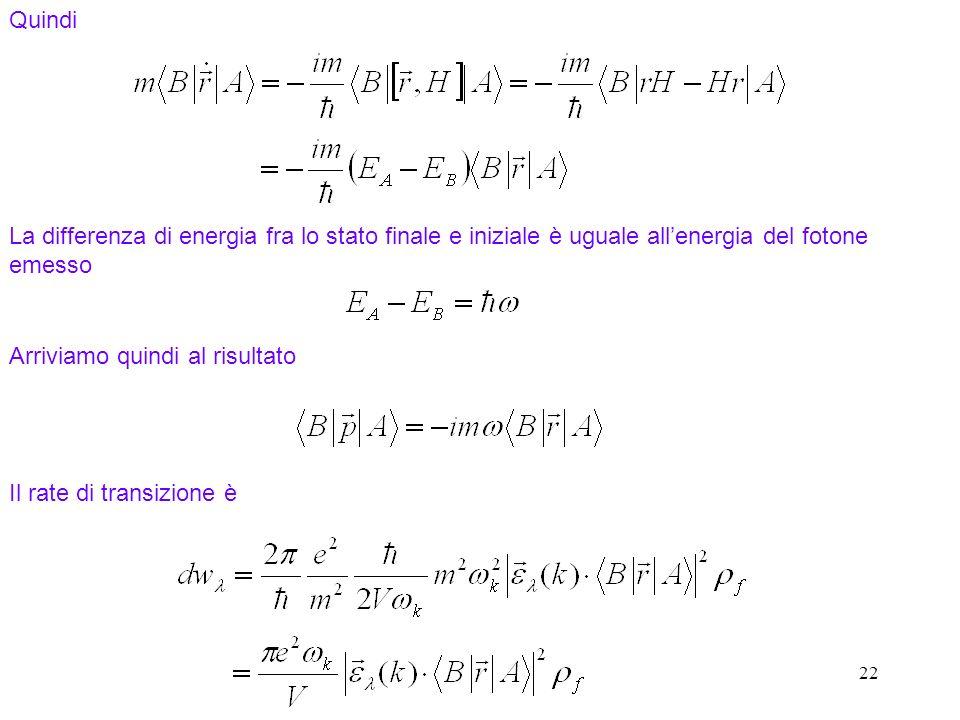 22 Quindi La differenza di energia fra lo stato finale e iniziale è uguale allenergia del fotone emesso Arriviamo quindi al risultato Il rate di transizione è