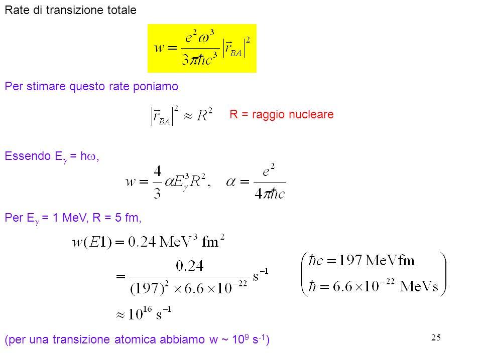 25 Rate di transizione totale Per stimare questo rate poniamo R = raggio nucleare Essendo E = h, Per E = 1 MeV, R = 5 fm, (per una transizione atomica abbiamo w 10 9 s -1 )