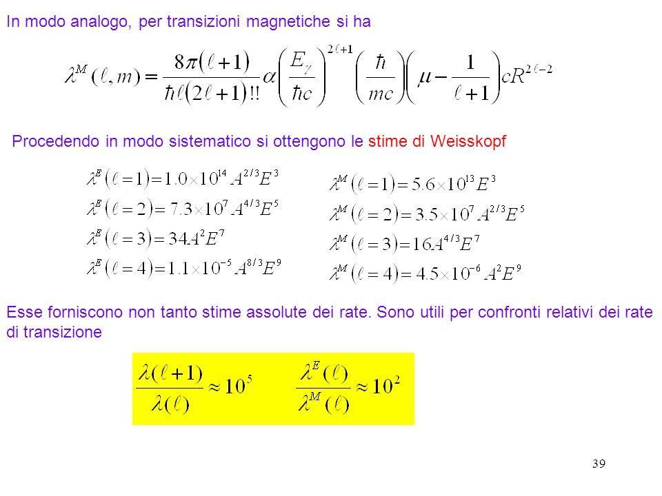39 In modo analogo, per transizioni magnetiche si ha Procedendo in modo sistematico si ottengono le stime di Weisskopf Esse forniscono non tanto stime assolute dei rate.