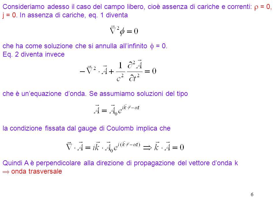 6 Consideriamo adesso il caso del campo libero, cioè assenza di cariche e correnti: = 0, j = 0.