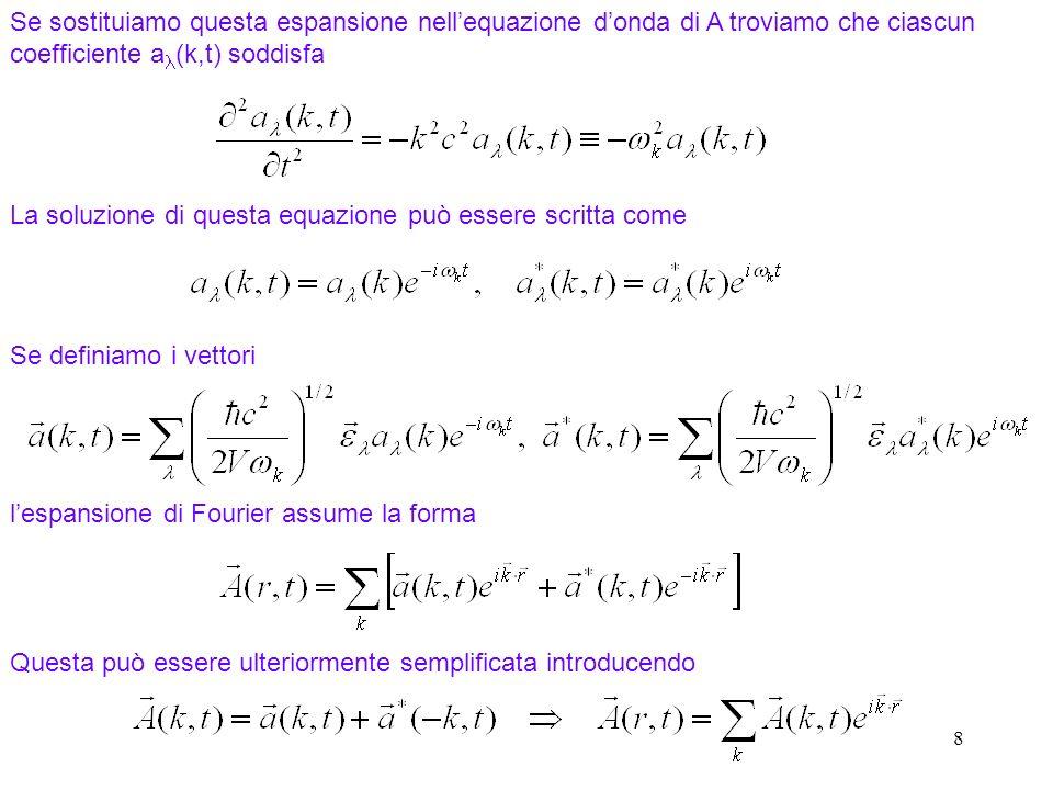 8 Se sostituiamo questa espansione nellequazione donda di A troviamo che ciascun coefficiente a (k,t) soddisfa La soluzione di questa equazione può essere scritta come Se definiamo i vettori lespansione di Fourier assume la forma Questa può essere ulteriormente semplificata introducendo
