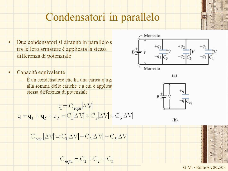 G.M. - Edile A 2002/03 Condensatori in parallelo Due condensatori si diranno in parallelo se tra le loro armature è applicata la stessa differenza di