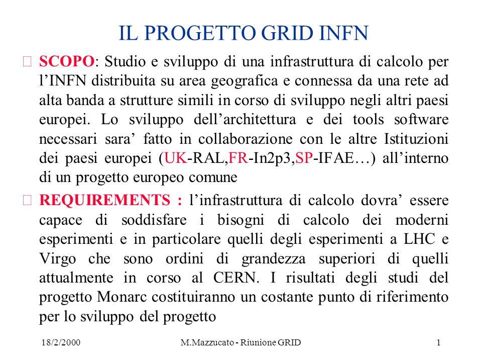 18/2/2000M.Mazzucato - Riunione GRID22 Risorse e manpower per INFN GRID (preliminare..) žGli esperimenti a LHC prevedono dal 2001 al 2003 degli studi approfonditi per lo studio delle performance del rivelatore, del trigger e del software con numero crescente di eventi da simulare, ricostruire e analizzare çCMS HLT: vari campioni di 10**7 eventi nel 2003 çAlice : Mock data Challenge çAtlas : Mock data Challenge in corso di definizione žSi e proposto di dimensionare i test bed di INFN GRID in modo che possano rispondere a queste esigenze žLe esigenze di test beds per LHC-B, Virgo e altri esperimenti saranno incorporate non appena definite žUna prima stima del finanziamento necessario in 3 anni e ~18-20 Glit ž(4.5, 4.5 e 9 Glit) žLa prima stima del manpower disponibile per il progetto Eu-Grid e INFN-Grid e di circa 20-25 FTE