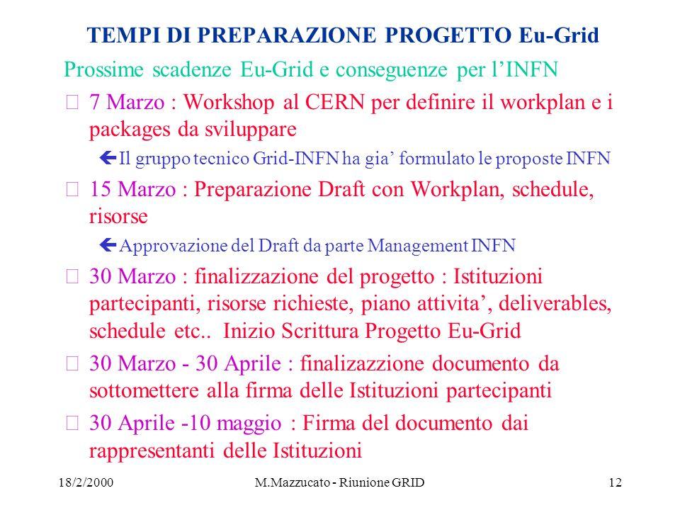 18/2/2000M.Mazzucato - Riunione GRID12 TEMPI DI PREPARAZIONE PROGETTO Eu-Grid Prossime scadenze Eu-Grid e conseguenze per lINFN ž7 Marzo : Workshop al CERN per definire il workplan e i packages da sviluppare çIl gruppo tecnico Grid-INFN ha gia formulato le proposte INFN ž15 Marzo : Preparazione Draft con Workplan, schedule, risorse çApprovazione del Draft da parte Management INFN ž30 Marzo : finalizzazione del progetto : Istituzioni partecipanti, risorse richieste, piano attivita, deliverables, schedule etc..