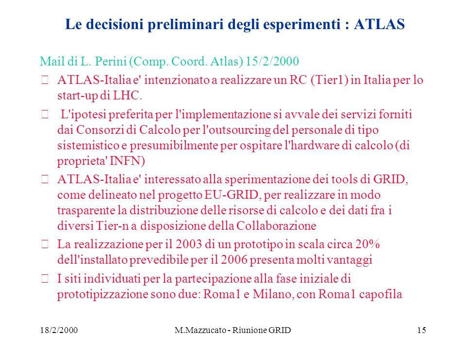 18/2/2000M.Mazzucato - Riunione GRID15 Le decisioni preliminari degli esperimenti : ATLAS Mail di L.