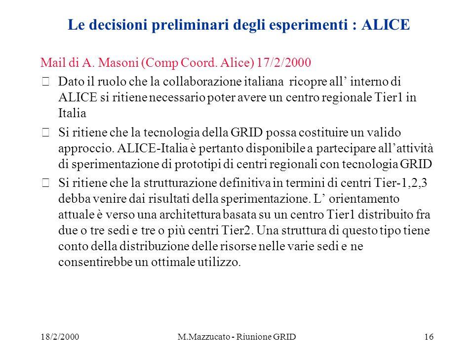 18/2/2000M.Mazzucato - Riunione GRID16 Le decisioni preliminari degli esperimenti : ALICE Mail di A.