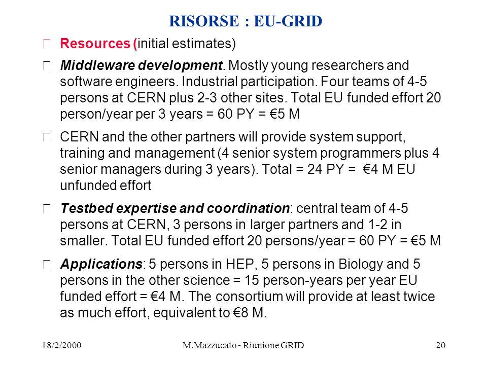 18/2/2000M.Mazzucato - Riunione GRID20 RISORSE : EU-GRID žResources (initial estimates) žMiddleware development.