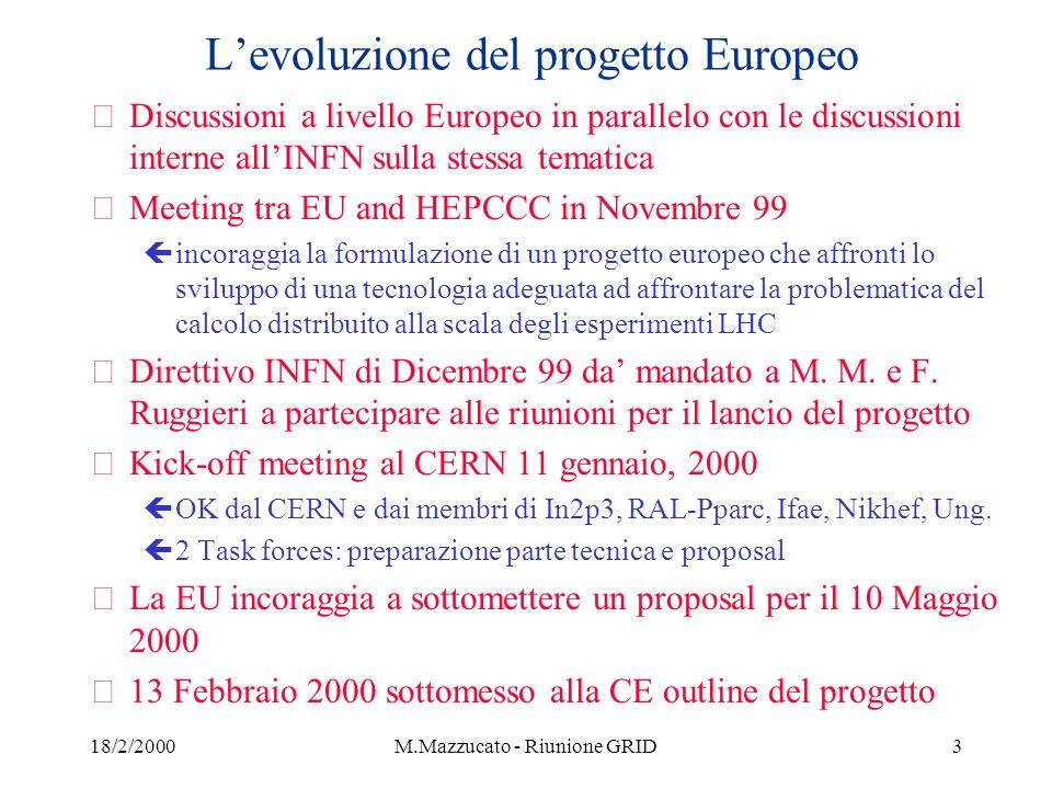 18/2/2000M.Mazzucato - Riunione GRID4 Descrizione del Progetto Europeo žScopo : Sviluppo e dimostrazione di WA Comp.