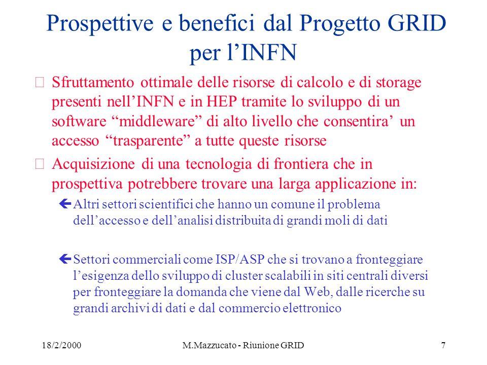 18/2/2000M.Mazzucato - Riunione GRID8 Alcuni numeri per il progetto Europeo ed INFN Estimated computing resources required at CERN for LHC experiments in 2006 (Da Tech prop.