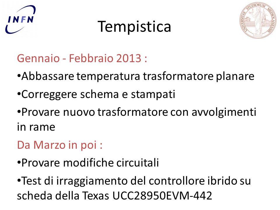 Tempistica Gennaio - Febbraio 2013 : Abbassare temperatura trasformatore planare Correggere schema e stampati Provare nuovo trasformatore con avvolgimenti in rame Da Marzo in poi : Provare modifiche circuitali Test di irraggiamento del controllore ibrido su scheda della Texas UCC28950EVM-442