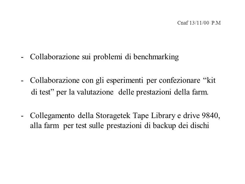 Cnaf 13/11/00 P.M -Collaborazione sui problemi di benchmarking -Collaborazione con gli esperimenti per confezionare kit di test per la valutazione delle prestazioni della farm.