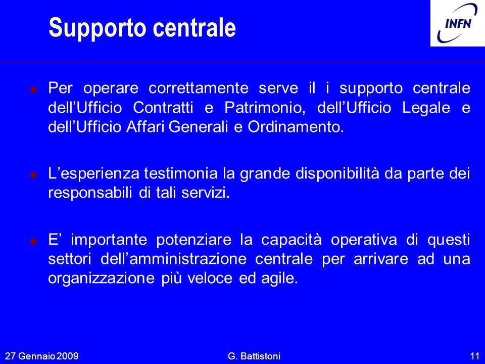 Supporto centrale Per operare correttamente serve il i supporto centrale dellUfficio Contratti e Patrimonio, dellUfficio Legale e dellUfficio Affari G