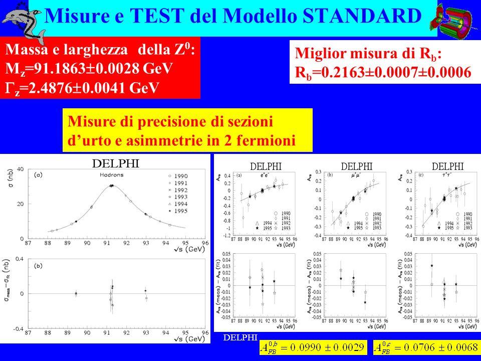 DELPHI Misure e TEST del Modello STANDARD Massa e larghezza della Z 0 : M z =91.1863 0.0028 GeV z =2.4876 0.0041 GeV Misure di precisione di sezioni durto e asimmetrie in 2 fermioni Miglior misura di R b : R b =0.2163±0.0007±0.0006