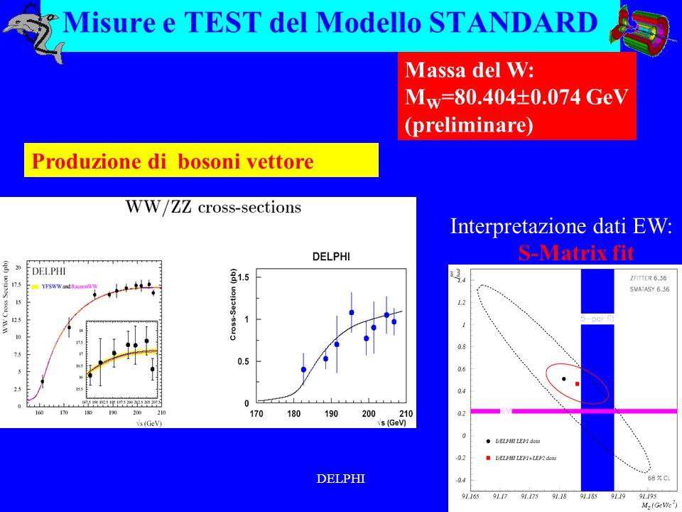 DELPHI Misure e TEST del Modello STANDARD Produzione di bosoni vettore Massa del W: M W =80.404 0.074 GeV (preliminare) Interpretazione dati EW: S-Matrix fit