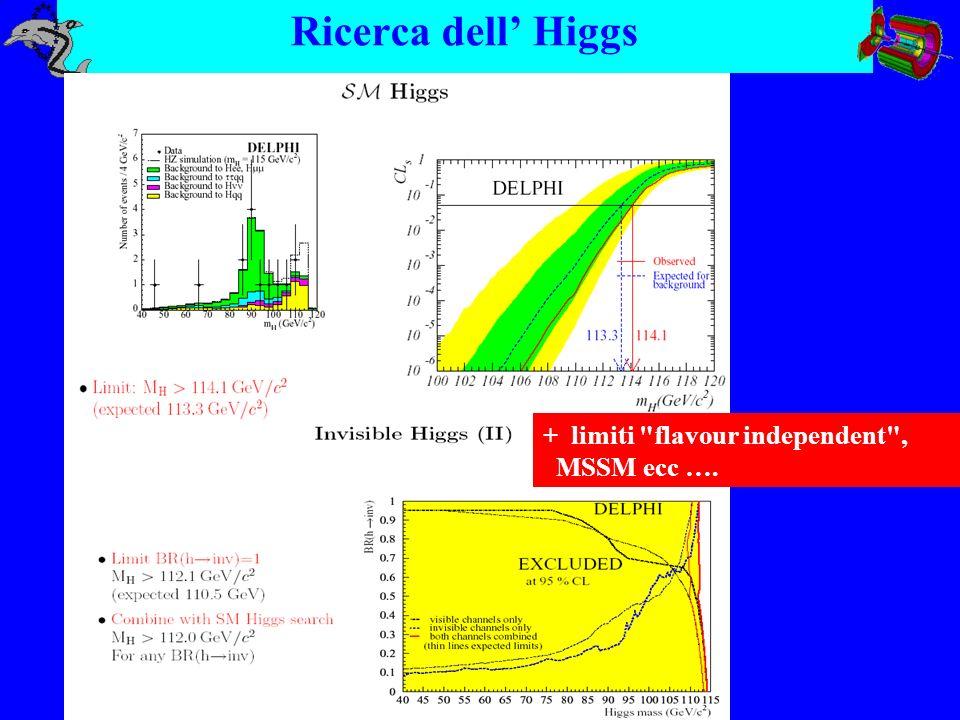 Ricerca di nuova Fisica Regioni di esclusione al 95% CL per la massa del chargino in funzione della differenza M(chargino)-M(neutralino) Ricerche standard Ricerche col tag del fotone ISR Ricerche di particelle stabili (RICH + dE/dx) o con vertice di decadimento visibile