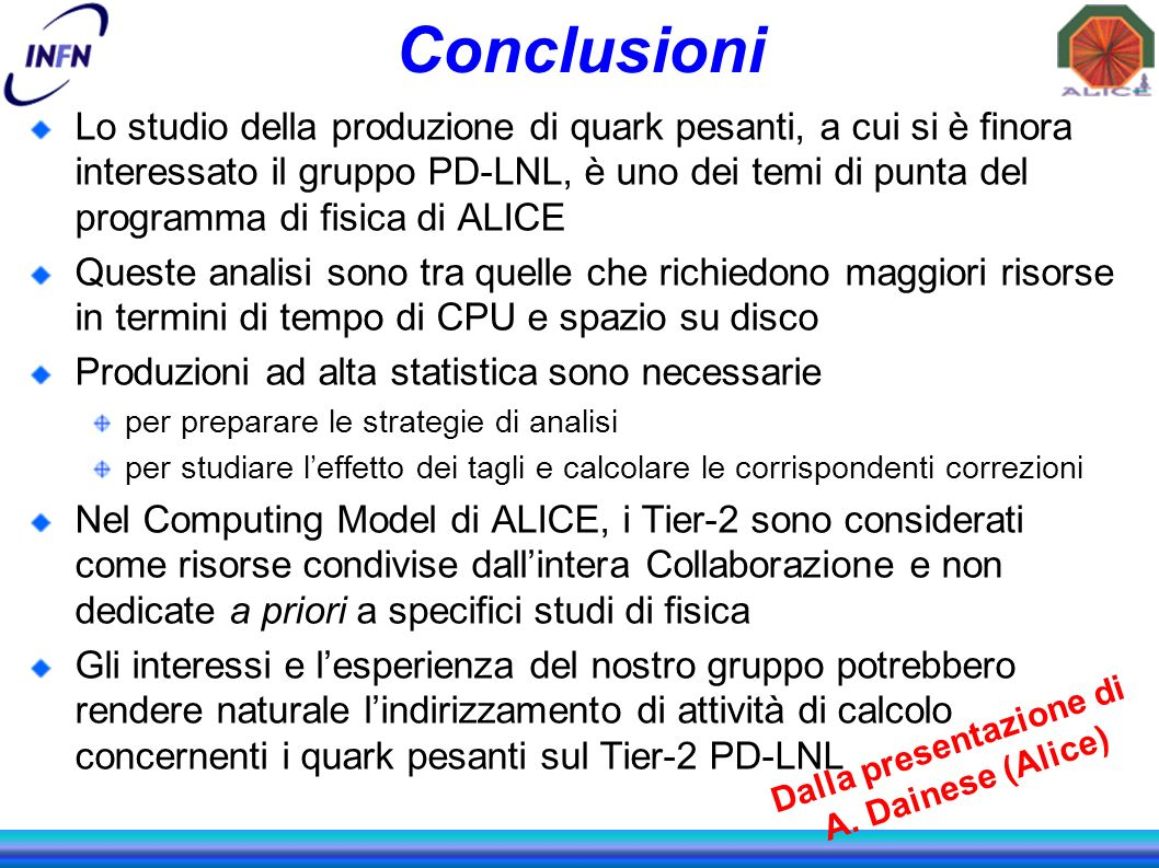 Conclusioni Lo studio della produzione di quark pesanti, a cui si è finora interessato il gruppo PD-LNL, è uno dei temi di punta del programma di fisi