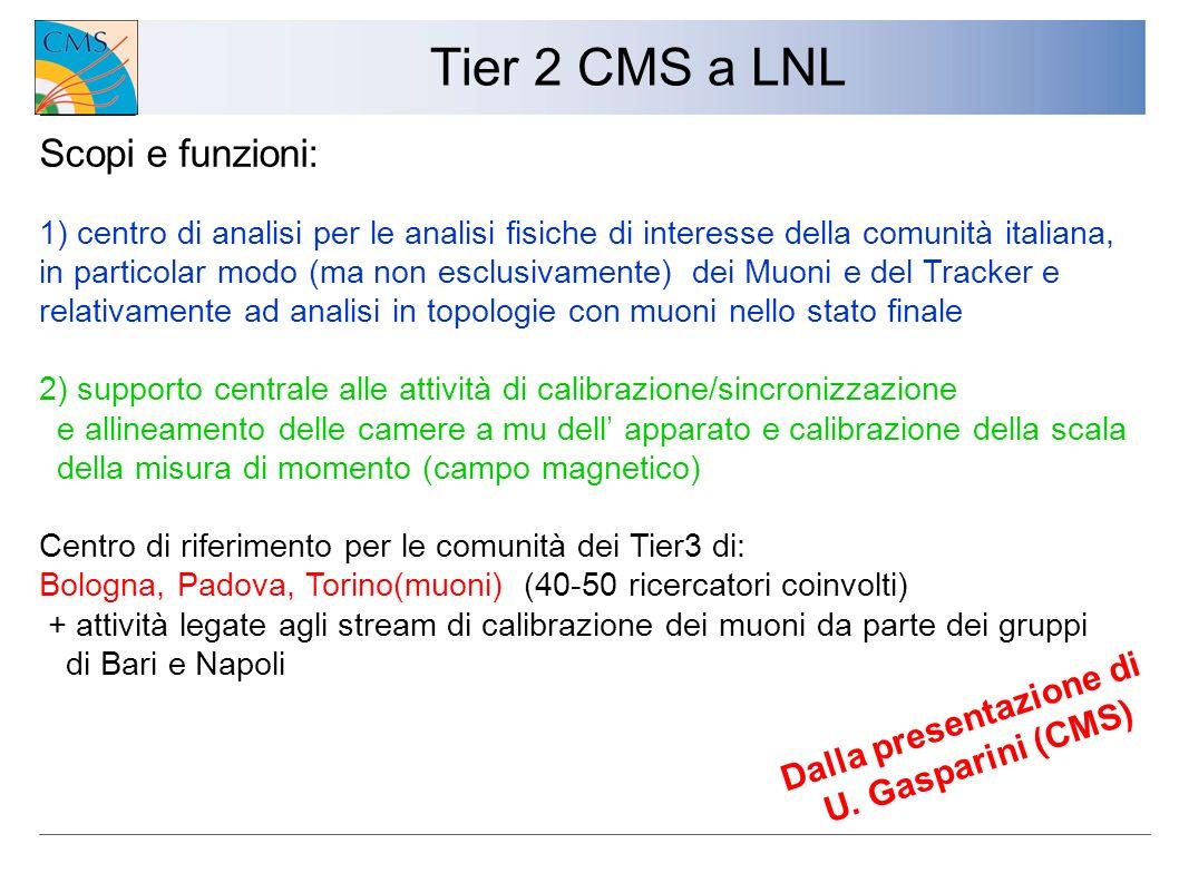 Tier 2 CMS a LNL 1) centro di analisi per le analisi fisiche di interesse della comunità italiana, in particolar modo (ma non esclusivamente) dei Muon