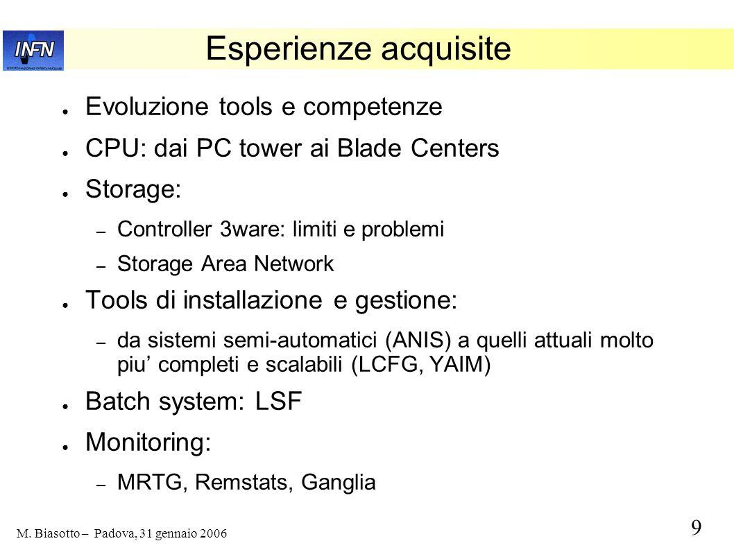 9 M. Biasotto – Padova, 31 gennaio 2006 Esperienze acquisite Evoluzione tools e competenze CPU: dai PC tower ai Blade Centers Storage: – Controller 3w