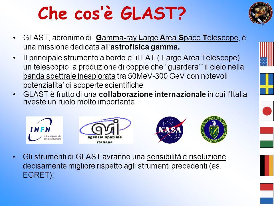 Gli strumenti di GLAST Il Large Area Telescope (LAT), che sfrutta il principio della produzione di coppie: e + e - Basato su rivelatori di nuova generazione, ad esempio il tracciatore a microstrip di silicio.