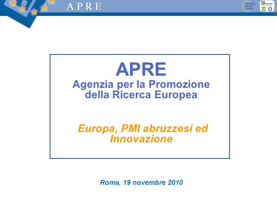 APRE Agenzia per la Promozione della Ricerca Europea Europa, PMI abruzzesi ed Innovazione Roma, 19 novembre 2010