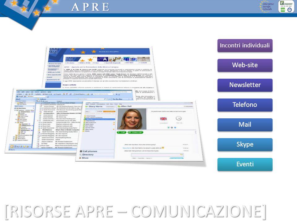 [RISORSE APRE – COMUNICAZIONE] Incontri individuali Web-site Newsletter Telefono Mail Skype Eventi