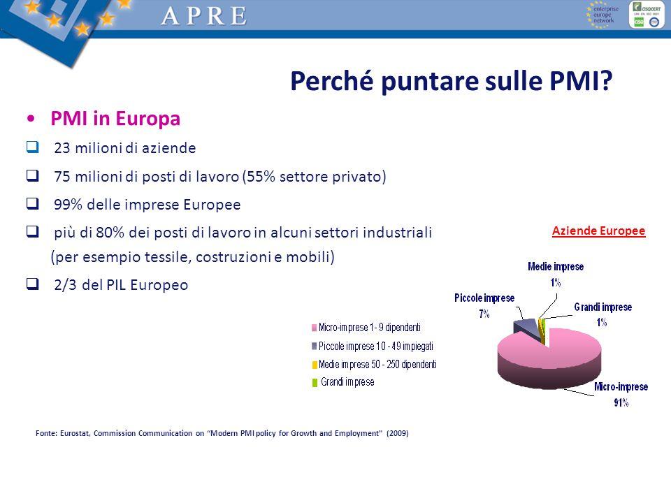 Perché puntare sulle PMI? PMI in Europa 23 milioni di aziende 75 milioni di posti di lavoro (55% settore privato) 99% delle imprese Europee più di 80%