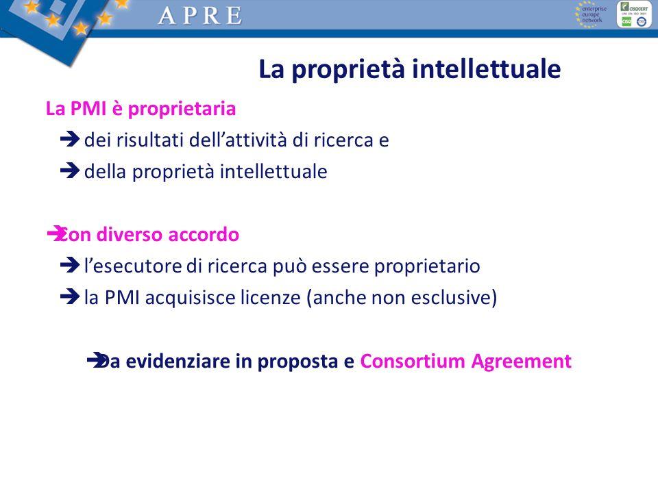 La proprietà intellettuale La PMI è proprietaria dei risultati dellattività di ricerca e della proprietà intellettuale Con diverso accordo lesecutore