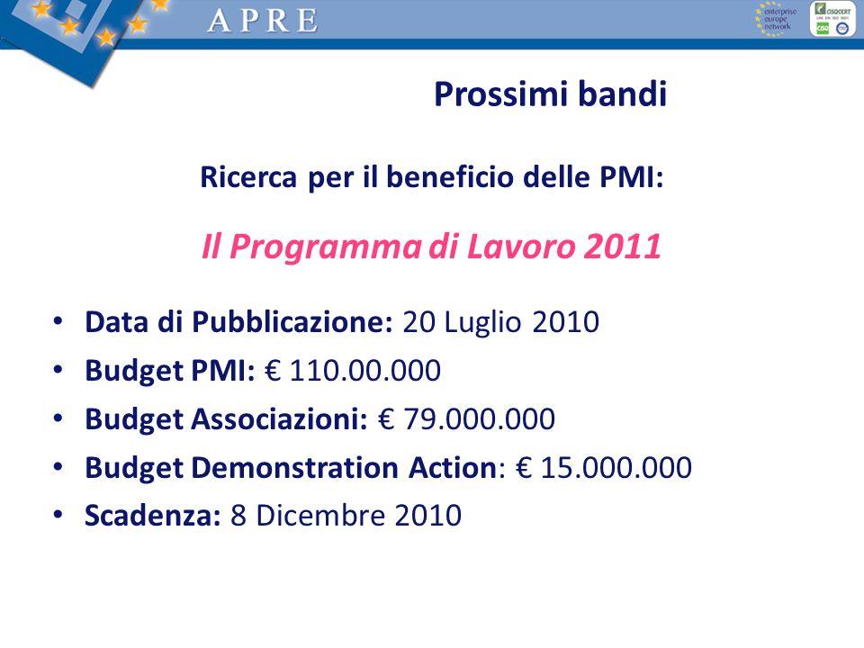 Ricerca per il beneficio delle PMI: Il Programma di Lavoro 2011 Data di Pubblicazione: 20 Luglio 2010 Budget PMI: 110.00.000 Budget Associazioni: 79.0