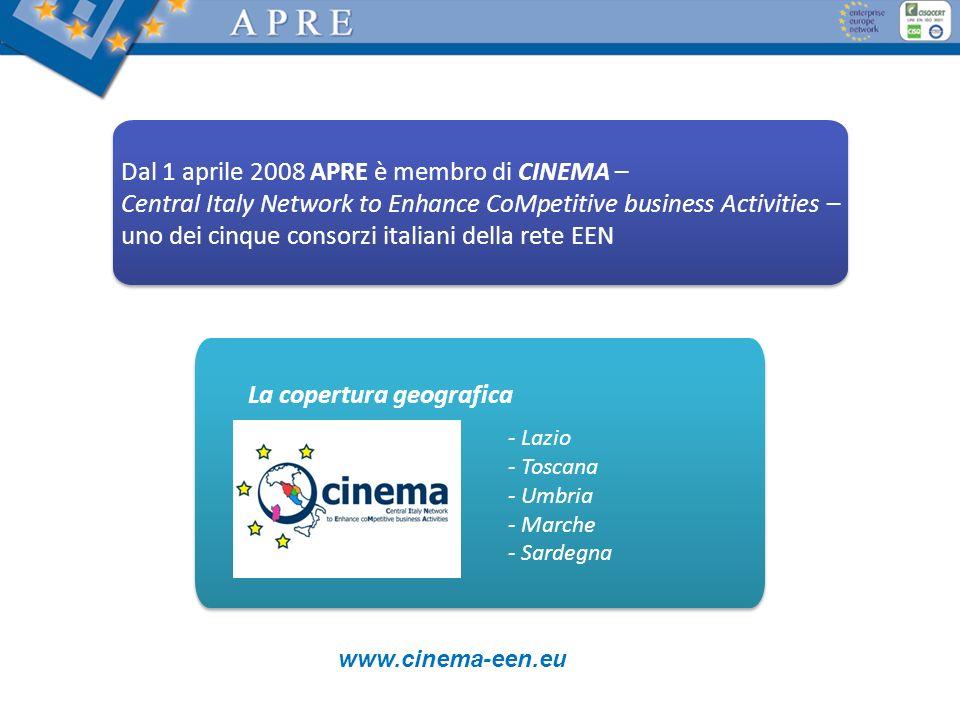 www.cinema-een.eu Dal 1 aprile 2008 APRE è membro di CINEMA – Central Italy Network to Enhance CoMpetitive business Activities – uno dei cinque consor