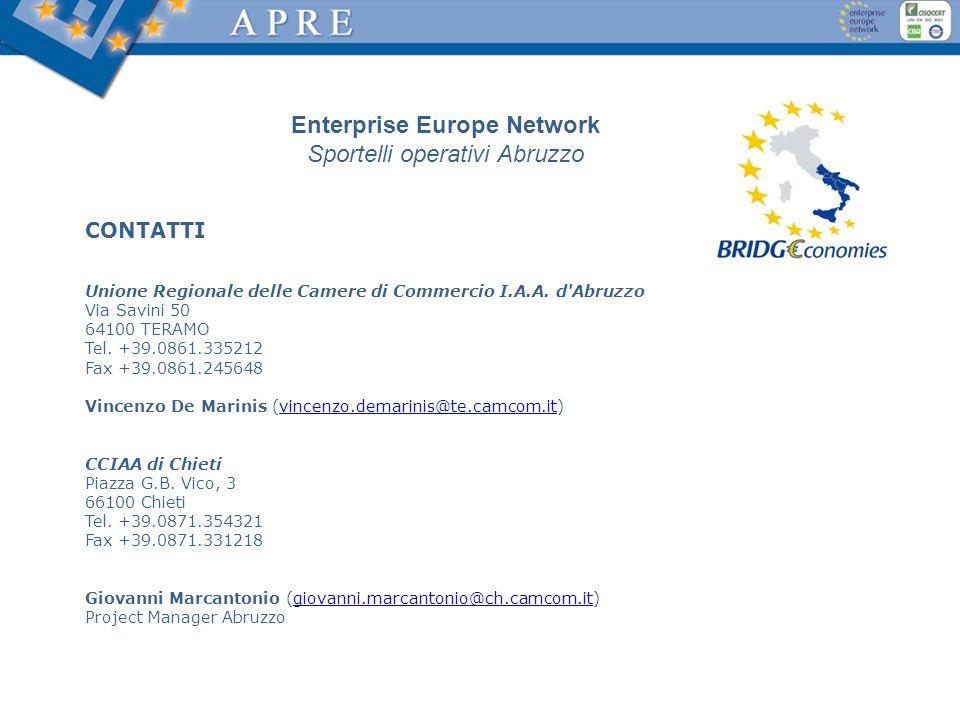CONTATTI Unione Regionale delle Camere di Commercio I.A.A. d'Abruzzo Via Savini 50 64100 TERAMO Tel. +39.0861.335212 Fax +39.0861.245648 Vincenzo De M