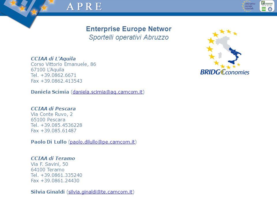 CCIAA di L'Aquila Corso Vittorio Emanuele, 86 67100 L'Aquila Tel. +39.0862.6671 Fax +39.0862.413543 Daniela Scimia (daniela.scimia@aq.camcom.it)daniel