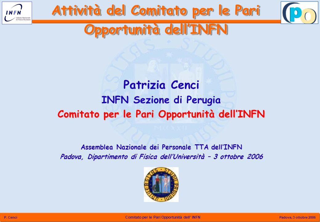 Comitato per le Pari Opportunità dell INFN P. Cenci Padova, 3 ottobre 2006 Attività del Comitato per le Pari Opportunità dellINFN Patrizia Cenci INFN