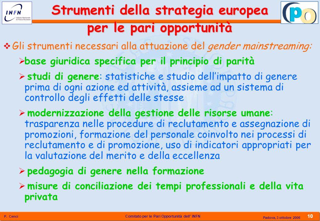 Comitato per le Pari Opportunità dell INFN P. Cenci 10 Padova, 3 ottobre 2006 Gli strumenti necessari alla attuazione del gender mainstreaming: base g