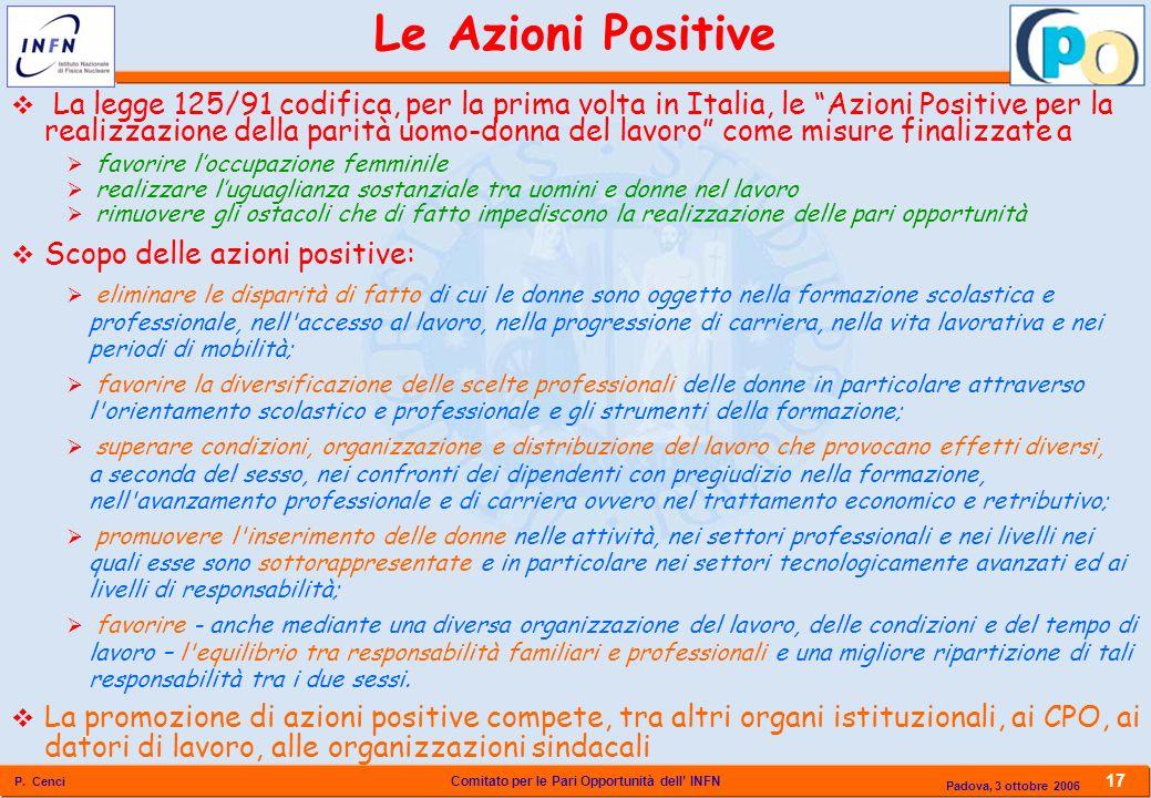 Comitato per le Pari Opportunità dell INFN P. Cenci 17 Padova, 3 ottobre 2006 La legge 125/91 codifica, per la prima volta in Italia, le Azioni Positi