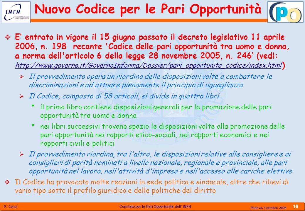 Comitato per le Pari Opportunità dell INFN P. Cenci 18 Padova, 3 ottobre 2006 Nuovo Codice per le Pari Opportunità E entrato in vigore il 15 giugno pa