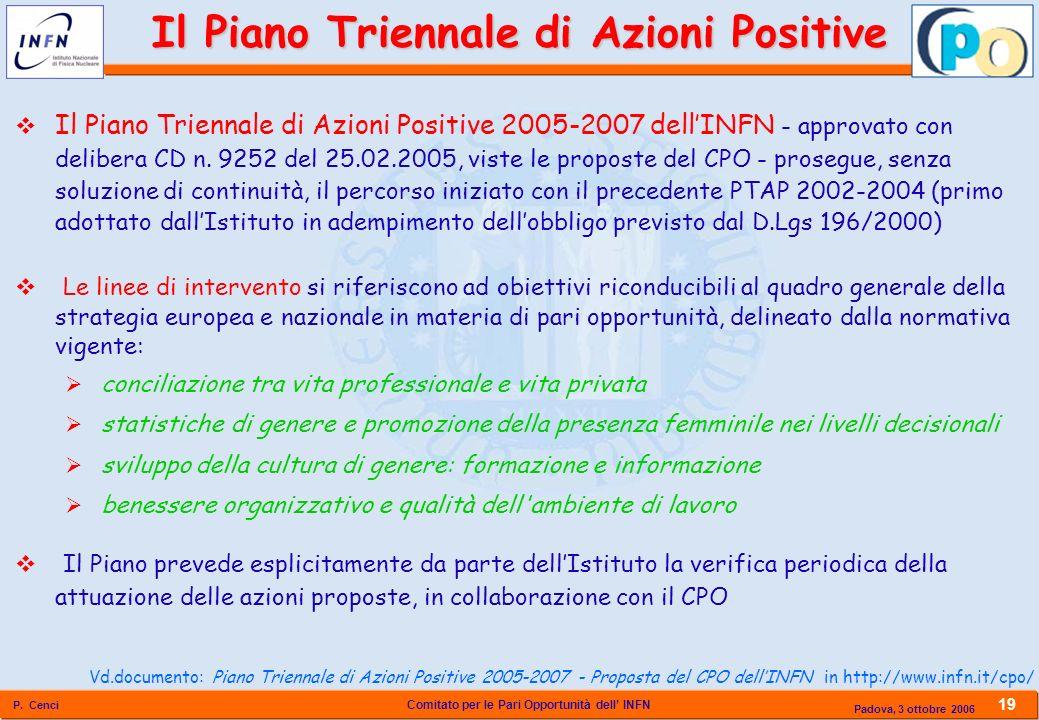 Comitato per le Pari Opportunità dell INFN P. Cenci 19 Padova, 3 ottobre 2006 Il Piano Triennale di Azioni Positive 2005-2007 dellINFN - approvato con