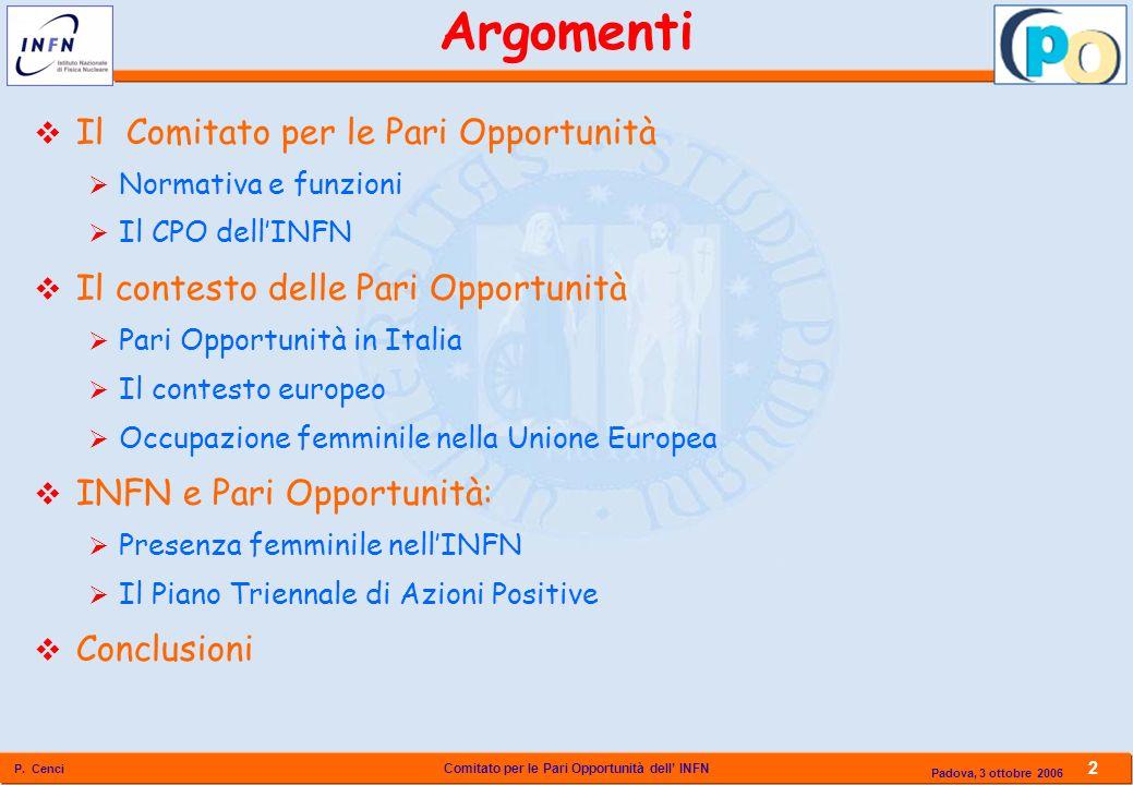 Comitato per le Pari Opportunità dell INFN P. Cenci 2 Padova, 3 ottobre 2006 Il Comitato per le Pari Opportunità Normativa e funzioni Il CPO dellINFN