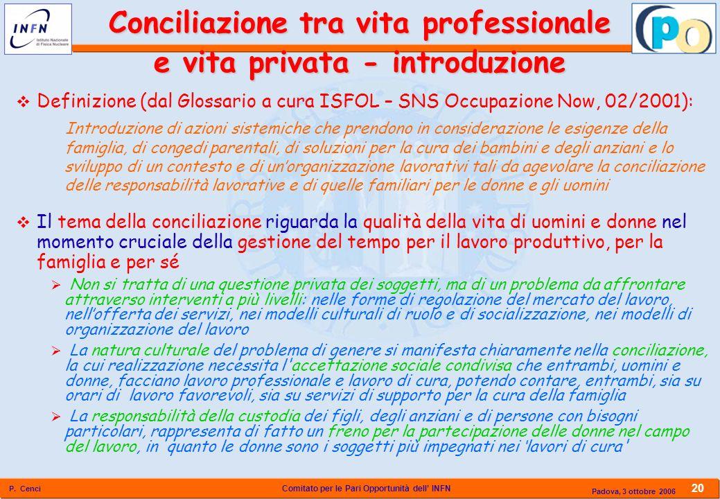 Comitato per le Pari Opportunità dell INFN P. Cenci 20 Padova, 3 ottobre 2006 Conciliazione tra vita professionale e vita privata - introduzione Defin