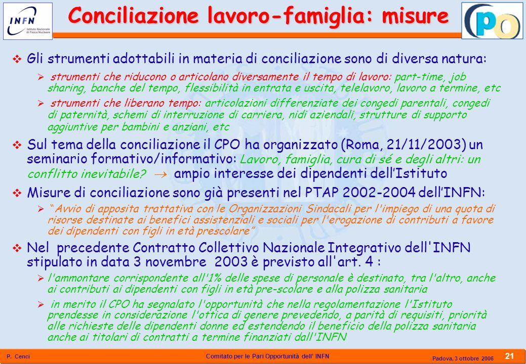 Comitato per le Pari Opportunità dell INFN P. Cenci 21 Padova, 3 ottobre 2006 Gli strumenti adottabili in materia di conciliazione sono di diversa nat